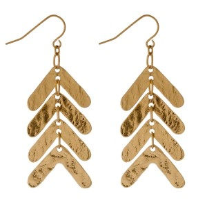 """Long, fishhook earring with stacked geometric shapes. Approximately 1.5"""" in length."""