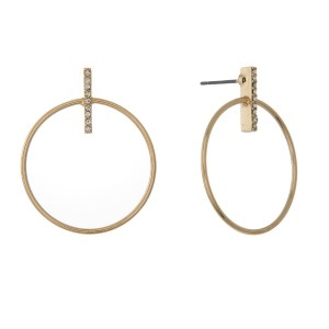 """Metal, post earring with rhinestone bar and circle detail. Approximately 1"""" in length."""