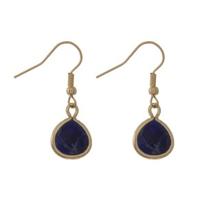 """Gold tone, fishhook earring with natural stone pendant. Approximately 1/2"""" in length."""