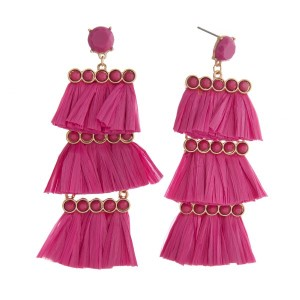"""Statement, post style earring with tiered raffia design. Approximately 3"""" in length."""
