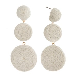 """Statement, post style earring with raffia cord accented circle shapes. Approximately 3"""" in length."""