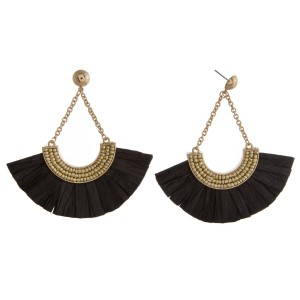 """Gold tone, post style earring with glass beads and raffia paper fan. Approximately 3"""" in length."""
