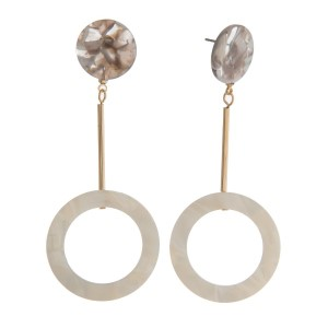 """Gold tone, post style earring with acetate circle shapes. Approximately 3"""" in length."""