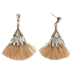 """Burnished gold tone post earring with rhinestone accents and fanned, soft tassel. Approximately 2"""" in length."""