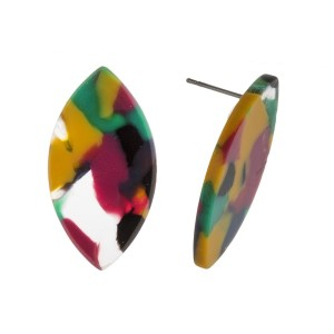 """Post earring with oval acetate shape. Approximately 1"""" in length."""