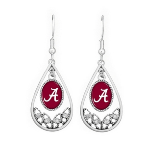 Polished Silver Tone Tear Drop Earrings with CZs. University of Alabama Logo. Textured Silver Tone Gift Box with Clear Plastic Cover. Officially Licensed Collegiate Product. (Earrings are Approx. 2 in L x 1 in W)