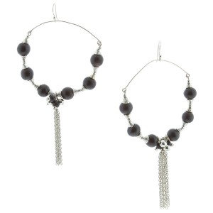 "5"" Silver tone fishhook style earrings featuring a flexible wire hoop with black tone wooden beads accented by a silver tone chain tassel."