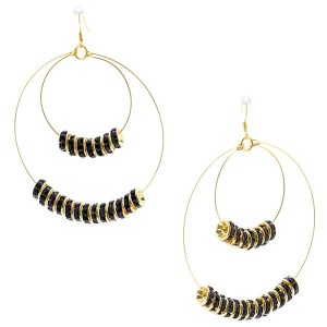 """3 1/4"""" Gold tone fishhook style earrings featuring a double wire hoop accented by dark purple crystal rhinestone rondelles."""