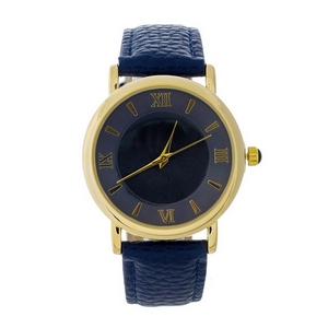 Navy blue genuine leather watch featuring a navy blue face and Roman numeral numbers.