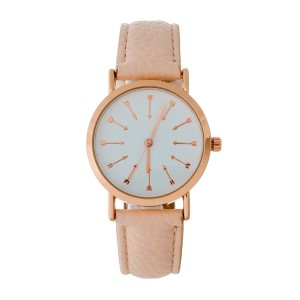 Pink faux leather watch with a rose gold tone body and arrows on the face.