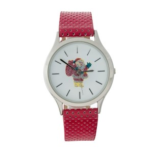 Perforated, faux leather Christmas themed watch.