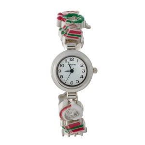 Silver tone watch with a Christmas theme and a hook closure.
