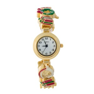 Gold tone watch with a Christmas theme and a hook closure.