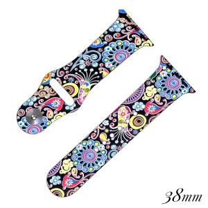 Paisley print silicone watch band for smart watches. Fits the 38mm size smart watch.