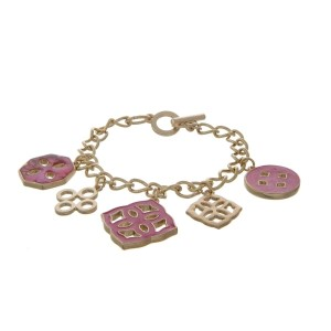 Gold tone rolo chain charm bracelet with double sided shades of mottled fuchsia giving a marble effect enamel and gold tone charms all around.