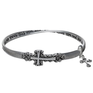 "Silver toned bracelet featuring a horizontal east-west cross accented by the words ""Ask it will be given; Seek and you will find, Knock and the door with be opened to you""."