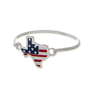 Silver tone latch bangle bracelet with an American flag inspired state of Texas focal.