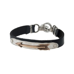 Black and silver tone faux leather toggle bracelet with a two tone arrow focal.