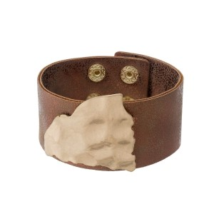 Bronze faux leather bracelet with a hammered gold tone cutout of South Carolina.