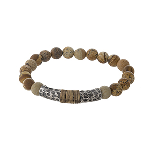 Picture jasper beaded stretch bracelet with a silver tone hammered accent.