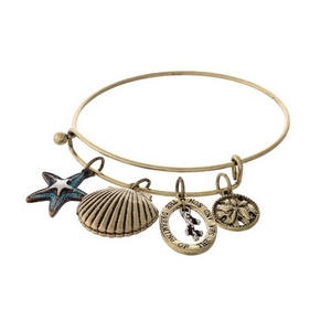 "Gold tone adjustable bracelet with a stamped charm saying ""Dreaming of the sea and sun"" and sea shell charms."