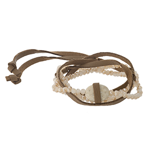 Brown faux leather wrap bracelet with ivory and champagne beads.