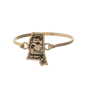 Gold tone bangle bracelet with the city map of Starkville, Mississippi stamped on the state shape.