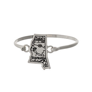 Silver tone bangle bracelet with the city map of Starkville, Mississippi stamped on the state shape.