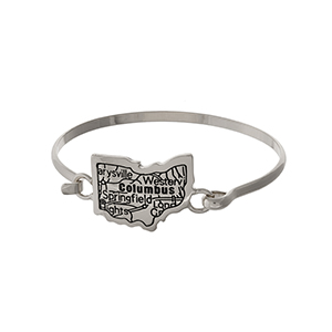 Silver tone bangle bracelet with the city map of Columbus, Ohio stamped on the state shape.
