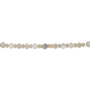 "Gray, clear and ivory beaded stretch bracelet with a toggle closure that can also be worn as a choker. Approximately 12"" in length."
