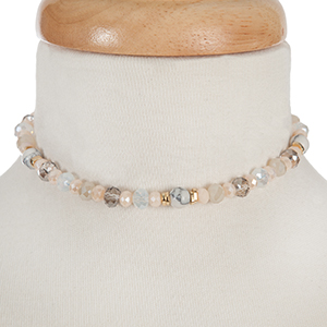 """Gray, clear and ivory beaded stretch bracelet with a toggle closure that can also be worn as a choker. Approximately 12"""" in length."""