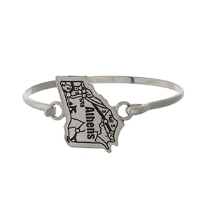 Silver tone bangle bracelet with the city map of Athens, Georgia stamped on the state shape.