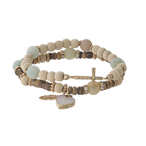 Two piece beaded stretch bracelet set with amazonite beads, a heart druzy charm and a gold tone cross.