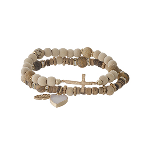 Two piece beaded stretch bracelet set with picture jasper beads, a heart druzy charm and a gold tone cross.