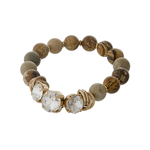 Picture jasper, natural stone beaded stretch bracelet with clear rhinestones and gold tone accents.
