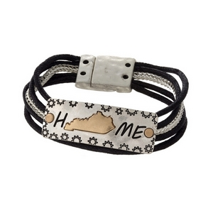 "Silver tone and black cord bracelet displaying  a ""Home"" focal and a gold tone state shape of Kentucky."