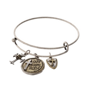 """Silver tone adjustable bracelet with a stamped charm saying """" Faith Hope Believe."""""""