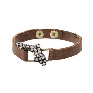 Bronze faux leather snap bracelet with the state shape of Florida, accented by clear rhinestones.