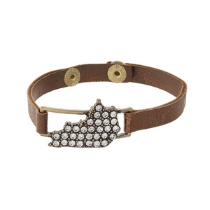 Bronze faux leather snap bracelet with the state shape of Kentucky, accented by clear rhinestones.