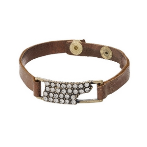 Bronze faux leather snap bracelet with the state shape of Tennessee, accented by clear rhinestones.