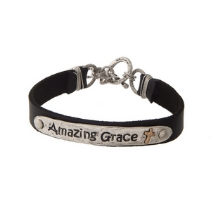 """Black and silver tone faux leather bracelet stamped with """"Amazing Grace."""""""