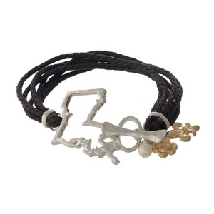 Brown braided cord bracelet with a silver tone shape of Louisiana focal, gold tone charms, and a toggle closure.