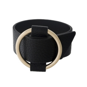 """Black, genuine leather bracelet with a gold tone buckle. Approximately 1"""" wide.   8.5"""" long."""