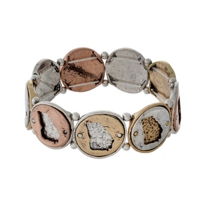 Silver, gold, and copper tone stretch bracelet with Georgia cutouts.