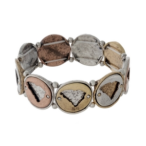 Silver, gold, and copper tone stretch bracelet with South Carolina cutouts.