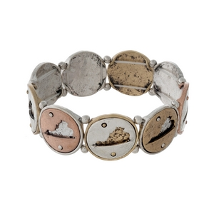 Silver, gold, and copper tone stretch bracelet with Virginia cutouts.