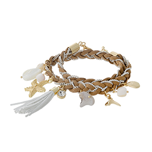 Light brown, braided faux suede wrap bracelet with a gold tone starfish and shell charm.