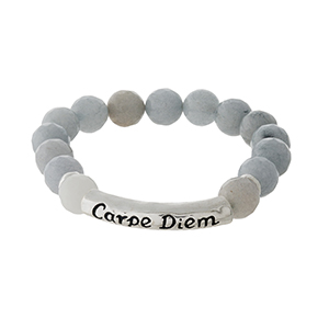 "Gray natural stone beaded stretch bracelet with a silver tone bar stamped with ""Carpe Diem."""
