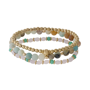 Three piece stretch bracelet set featuring gold tone, amazonite, and pink faceted beads.