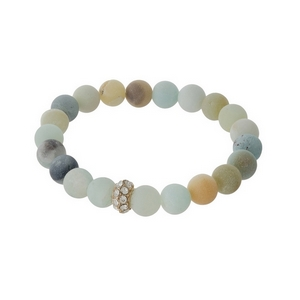 Amazonite beaded stretch bracelet with a gold tone pave accent bead. Stones are approximately 10mm in size.